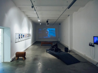 View into one of the exhibition rooms - in the back, the video work 'Rhodopia' (2012) by Christoph Schwarz