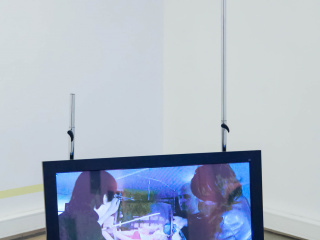 Paran Pour's video work 'The Chess Palace' (2012) shown within Markus Hahn's installation