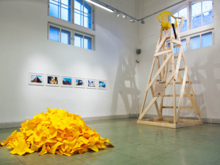 In the front: Yeşim Ağaoğlu, 'Untitled (Poetry Installation)' (1996-2013)