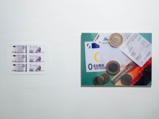 Michael Aschauer, '0EURO note', Inkjet print (2004-2012) and 'Was bleibt?/ What stays?', C-Print (2012), both works from the '0EURO PROJECT'
