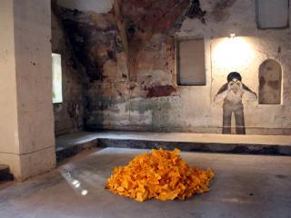 left: Yesim Agaoglu, Untitled, Poetry Installation, 1996-2014; right: Alexandru Raevschi, 'Friendly fire, which we won', 2010.