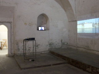2 video works by Michael Aschauer, amongst them the 'Bosporus Panorama' on the right.