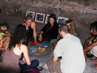 Visitors playing a game on Veronika Tzekova's 'Space Appropriator / KD Ludo'